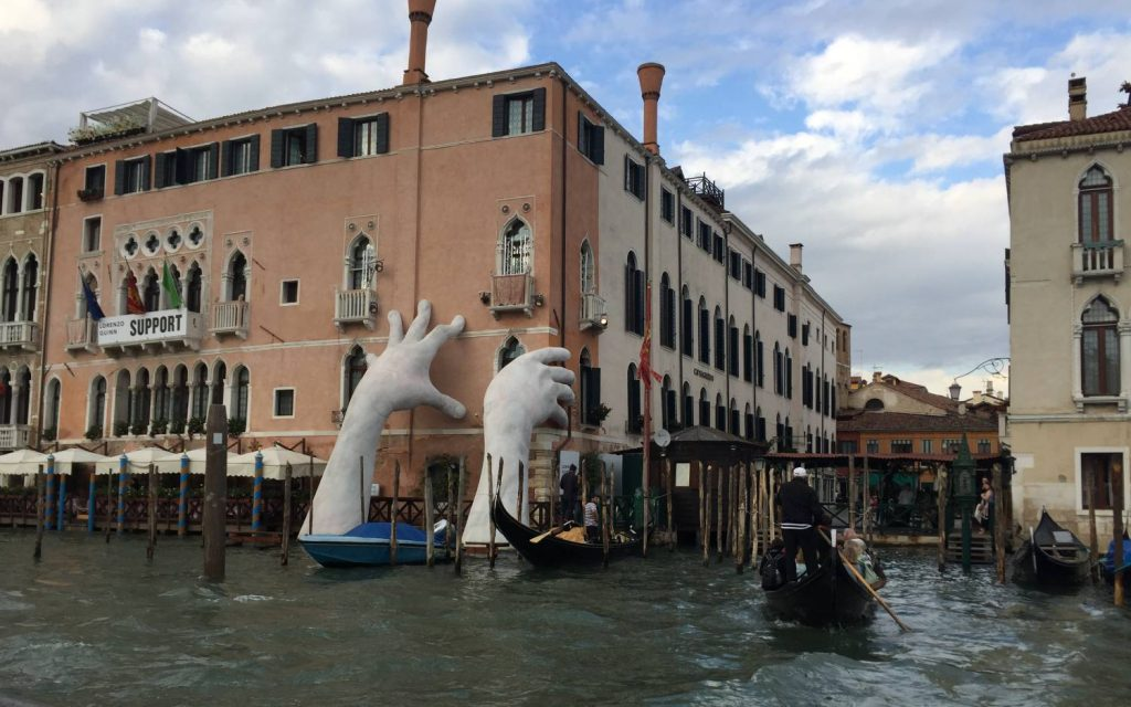 'Support' artwork during Art Biennale 2017, Venice