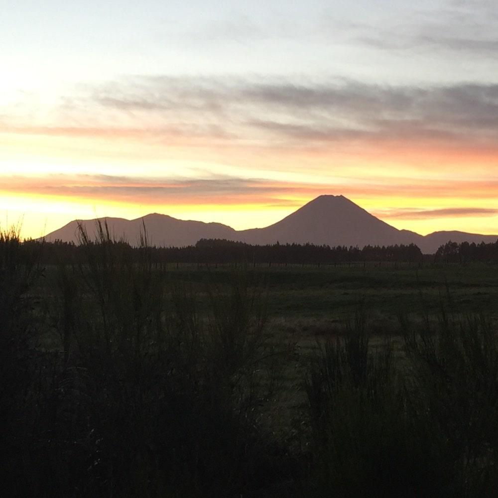 Sunrise behind mount Tongariro New Zealand